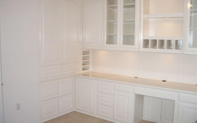 White home office cabinetry