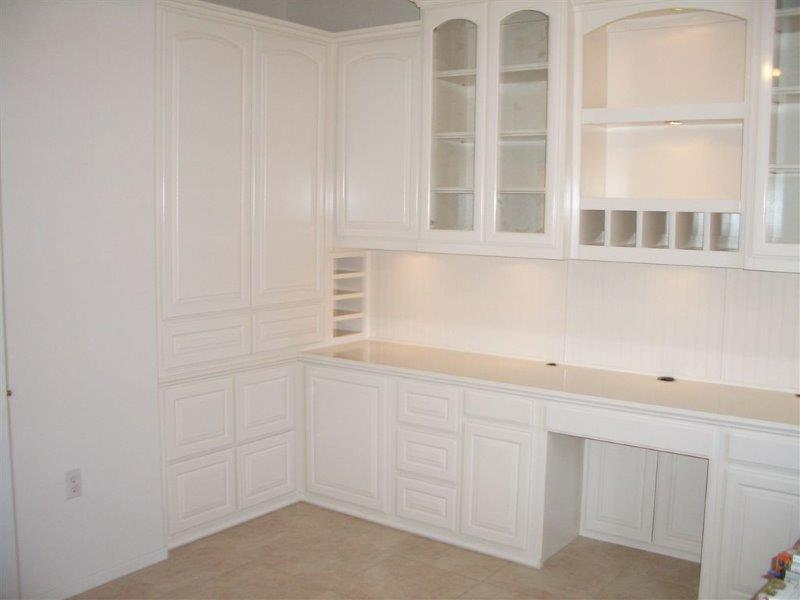 white home office cabinetry built home office