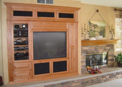 Built in wall unit cabinets with fireplace mantel