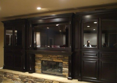 Custom Cabinets Around A Fireplace · Entertainment Center With Open Backing  That Shows Painted Wall · Built In Entertainment Center Cabinets ...