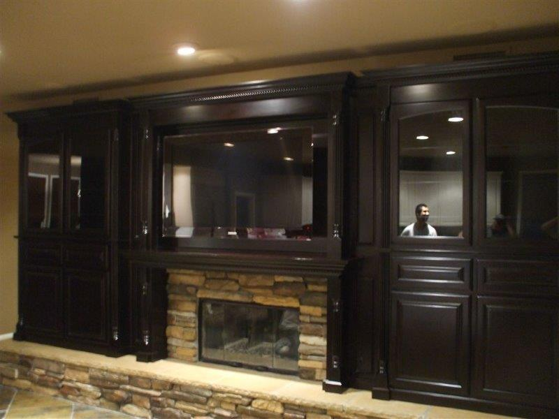 Custom cabinets around a fireplace