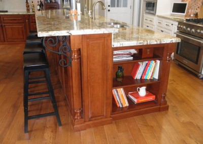 Kitchen island with built in bookshelf in Carlsbad