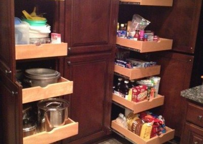 Full extension pantry shelves