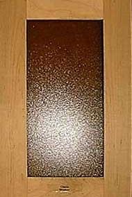Shaker door with textured glass
