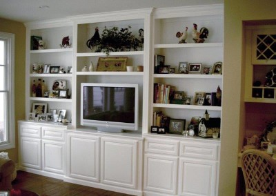 White Wall Unit entertainment centers and wall units designed while you watch