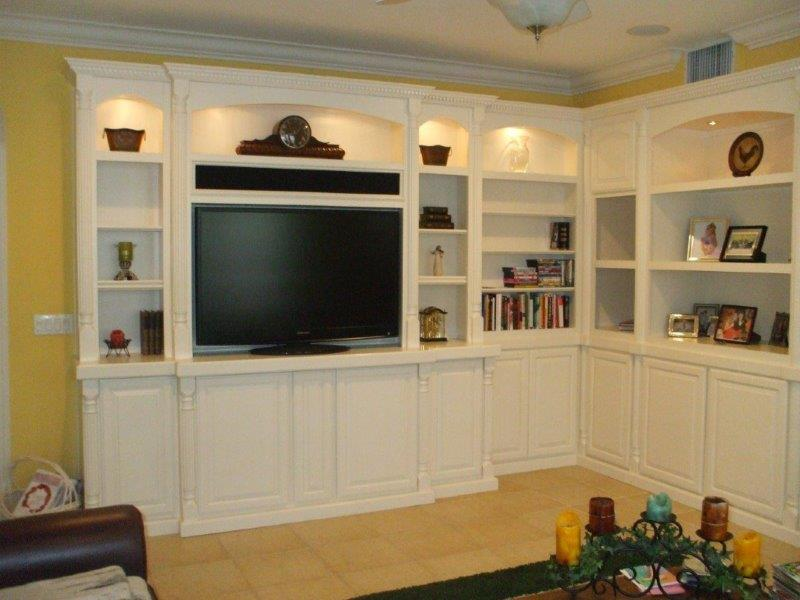White corner cabinets wall unit