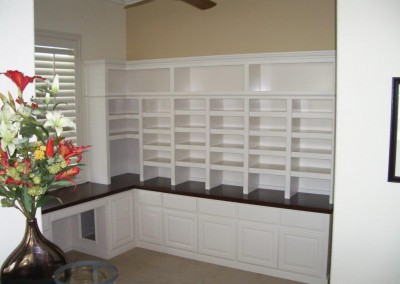 custom window seat and bookcases built in desk and home office built