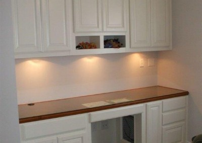 ... Built In Desk And Bookshelves In Home Office Loft. Custom Cabinets With  A Two Toned Look ...