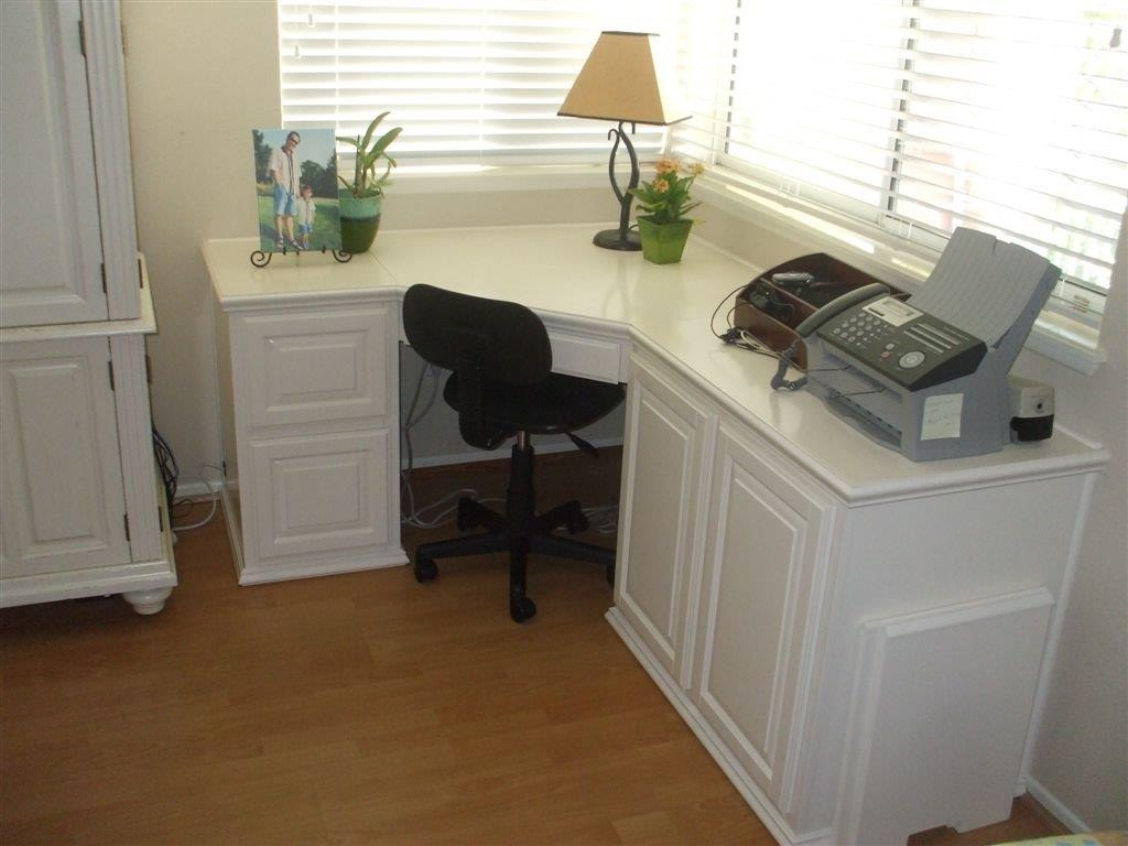 Custom home office cabinets and built in desks Built in desk