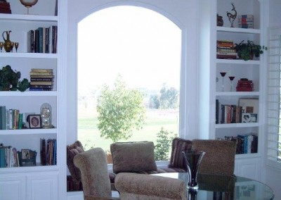custom window seat and bookcases
