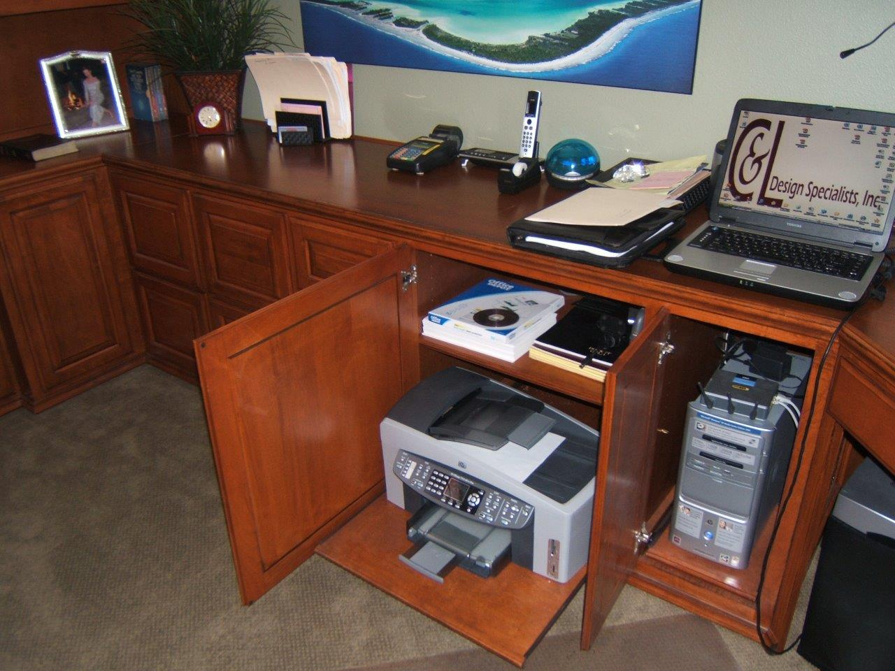 ... Desk · Put Your Printer On A Pull Out Shelf In Your Home Office ...