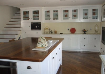 White kitchen cabinets with shaker doors
