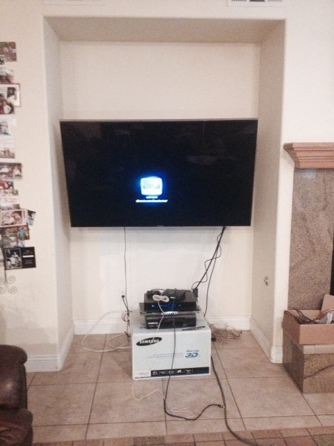 Before built in wall unit TV stand in Corona CA