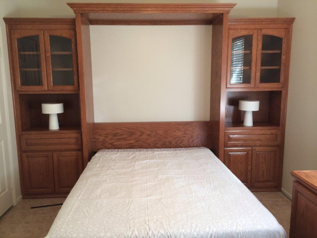 Custom murphy bed in open position